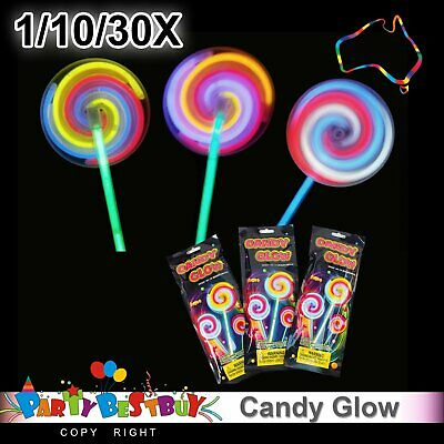 1/10/30 Lollipop Glow Sticks Wand Light Party Glowsticks Glow in dark Party Magi