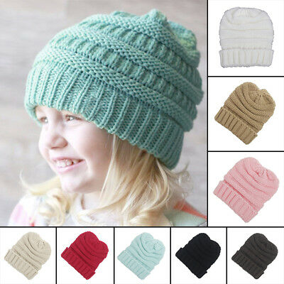 Kids Girl Boy Baby Child Winter Warm Crochet Knit Hat Baggy Beanie Skull Ski Cap