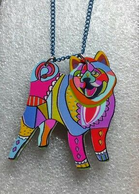 Akita Dog Pup Pendant Chain Necklace Floral Multicolor Jewelry