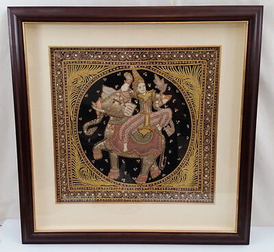 Burma Kalaga Embroidered 3-D Wall Tapestry Thailand Shadow Box Frame