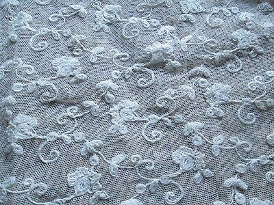 Antique lot off 4 pieces net lace embroidered flowers/France