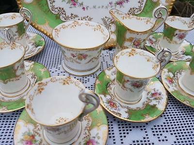 Antique Coalport Batwing Green Coffee service