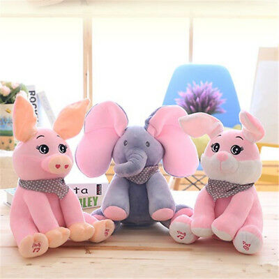 "12""Peek-a-boo Elephant Singing Baby Plush Toy Stuffed Animated Soft Gift for Kid"