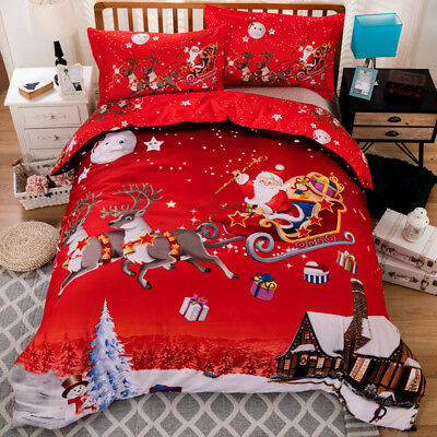 Christmas Santa Claus Doona/Quilt/Duvet Cover Set King/Single/Queen Size Bed New