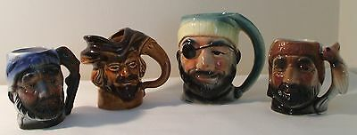 Four Vintage Pirate/sailor/bearded Toby/character Jugs -  Japan/foreign Marks