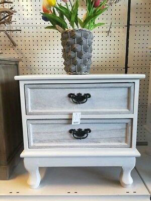 Wooden White 2drawer Bed Side Table Furniture
