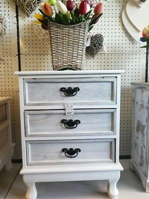 White Wooden Furniture Bed Side Table With 3 Washed White Drawer