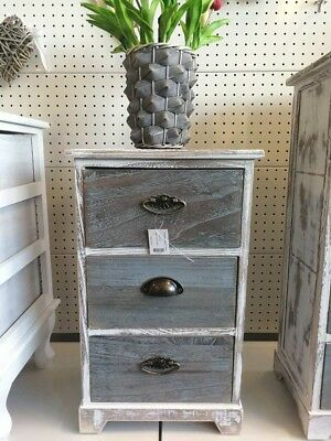 Wooden Shabby White 3drawer Bed side/Display/furniture With Dark Grey Drawer