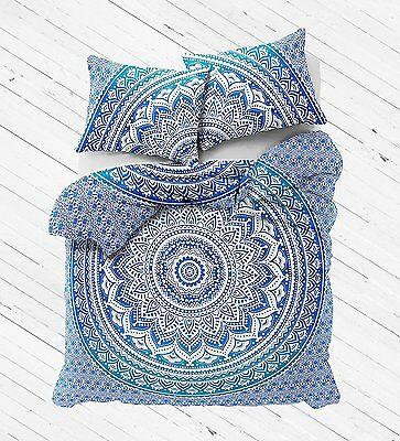 Indian Queen Size Blue Ombre Duvet With Pillow Cover Doona Quilt Tapestry Cover@