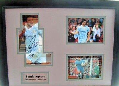 Signed and  framed Manchester City Montage of Sergio Auguro
