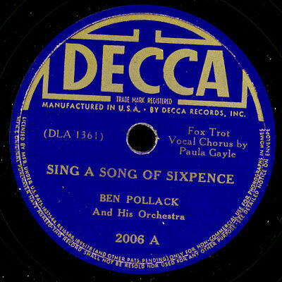 BEN POLLACK & ORCHESTRA Sing a song of sixpence / As long as I live; 78rpm  X116