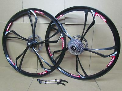"26"" MTB Bike Magnesium Alloy Wheel Set 8/9 Speed Cassette Disc Brake Rotors"