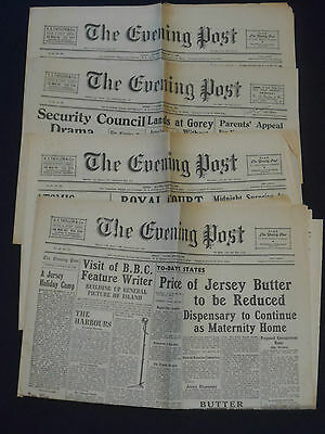 4 Editions of The Jersey  Evening Post -- Jan, Feb & March 1946