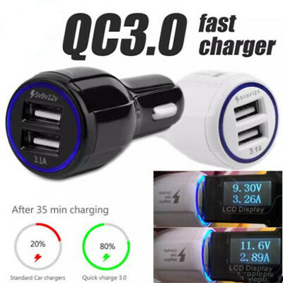 MINI Qualcomm Quick Car Charger DC 12V-24V Dual USB Fast Charging for Cell Phone