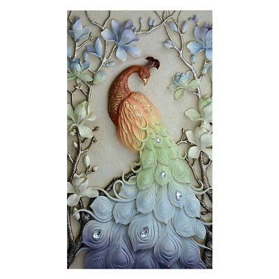 5D Peacock Painting Diamond Cross Stitch Embroidery Craft Home Wall Decor AU
