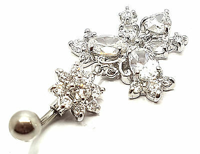New Sterling Silver Dangle Crystal Belly Navel Surgical Steel Curve Bar