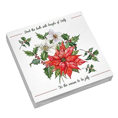 Holly & Poinsettia Christmas Paper Napkins Serviettes 20 Per Pack 3 Ply