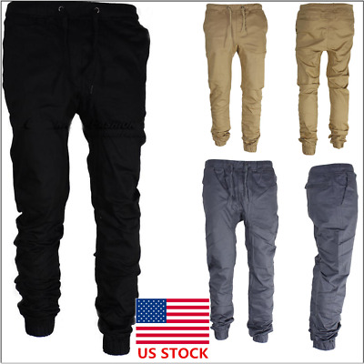 Mens Long Slim Fit Casual Sports Pants Gym Running Jogger Trousers Sweatpants