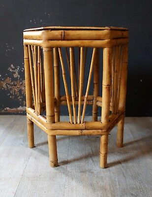 Petite Table Basse D 'appoint Ou Tabouret Rotin Bambou Vintage