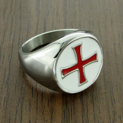 Knights Templar Shield Red Cross Crusades Celtic Masonic Silver S8-14 Men Ring