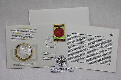 BERMUDA STERLING SILVER MEDAL 20 Gr. 39mm INTERNATIONAL POSTMASTER COVER A63 CG4