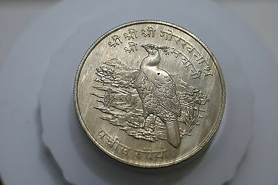 Nepal Silver 1974 25 Rupees Monal Pheasant CONSERVATION SERIES A69 CM5 - 9