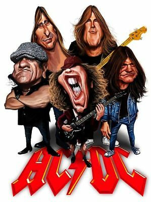 ACDC Caricature Back In Black Angus Sticker or Magnet