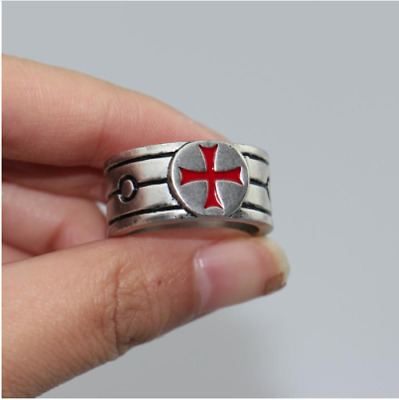 Silver Knights Templar Shield Red Cross Crusades Celtic Masonic S.8-11 Men Ring