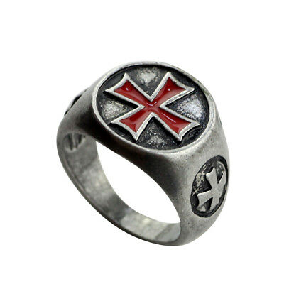 Silver Knights Templar Shield Red Cross Crusades Masonic Celtic Size 8 Men Ring