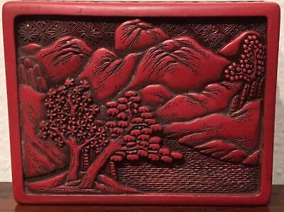 Lacquer, Lidded Red Cinnabar Rectangular Floral Box Chinese Carved Antique