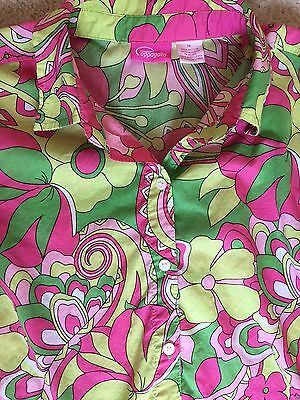 Vtg 60s Pappagallo SZ M Lilly Pink & Green Top Blouse Preppy Shirt Ruch Sides