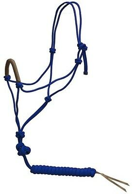 Adjustable Nylon Horse Size Cowboy Knot Halter w/10' Lead, Leather End -Blue