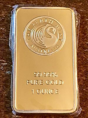 1 oz. Fake Gold Bar Plated Bullion Paperweight for Desk! Novelty.
