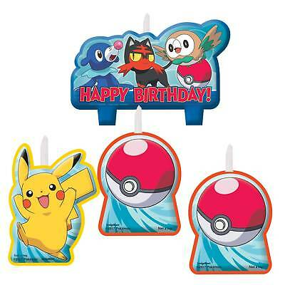 Amscan - New Pokémon Candle Sets /4 Fancy Dress Worldwide Free Shipping