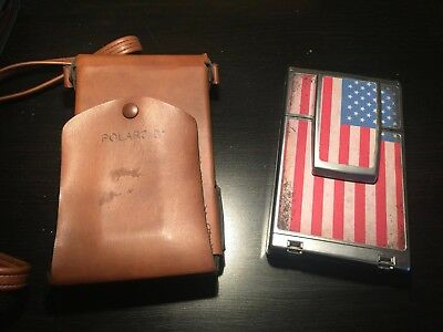 Polaroid SX-70 Land Camera Alpha 1 USA FLAG MODEL WITH LEATHER CARRYING BAG!