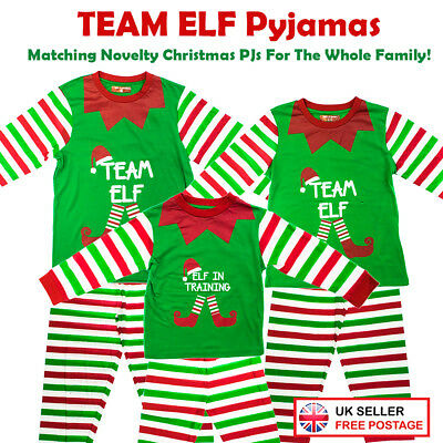 """Team Elf"" / ""Elf In Training"" Matching Family Christmas Elf Pyjamas PJ Dad Mum"