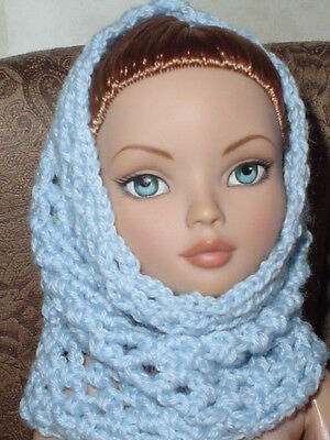 Handcrafted Hooded Cowl Doll Hat Tonner Ellowyne Amber Lizette Light Blue