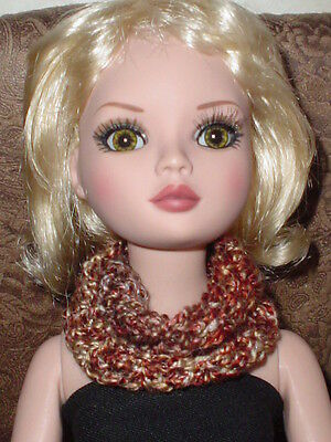 Handcrafted Infinity Scarf  Tonner Ellowyne Amber Lizette Browns