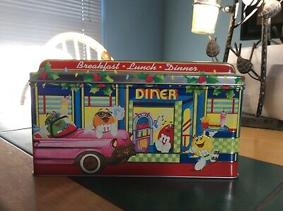 m&m diner tin box w/ all characters