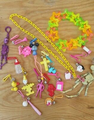 Rare Vintage 80's Plastic Bell Charm Necklace 17 charms Olive Oil from Popeye  +