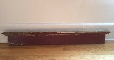 Antique Door Crown Molding Shelf Chippy Paint Burgundy 1800s Architectural Salva
