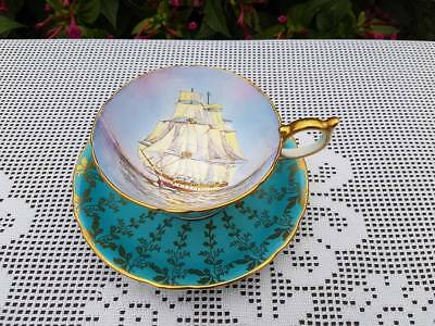Aynsley Turquoise Tall ship signed cup & mismatch saucer