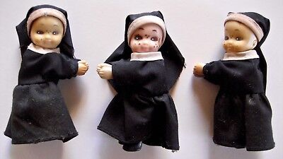 Set of 3 Praying Nun Dolls W/ Gripping Arms/Hands 3.5 Inches Painted Faces Rare
