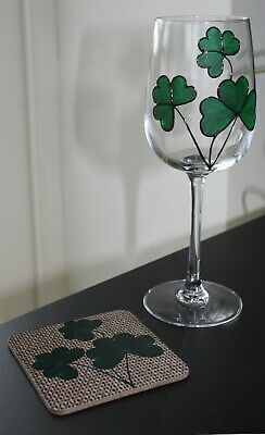 Shamrock Wine Glass and Coaster Gift Set - St Patrick's Day