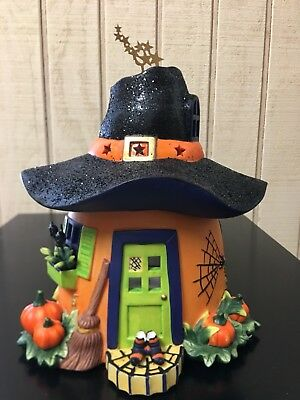 Partylite Halloween Pumpkin Witch House Tealight Candle Holder P8607 w/Star