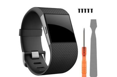 Adjustable Replacement Strap Band Black For Fitbit Surge Fitness Watsch