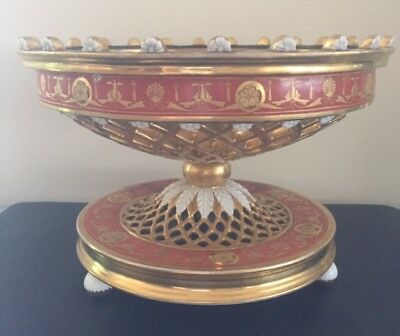 Antique Hand Painted Footed Round Pedestal Bowl