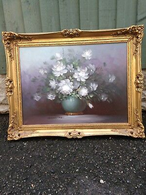 Large Vintage Oil Painting Of Flowers In Gold Gilt Frame, Signed robert cox