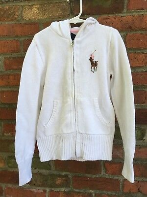 Ralph Lauren Girls Hooded Zipper Sweater in White Size 8/10 in great condition