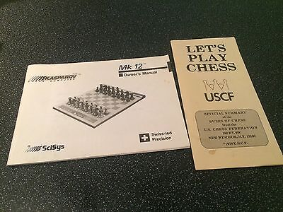 Kasparov MK12 Electronic Chess Owners Manual & Lets Play Chess Official Rules